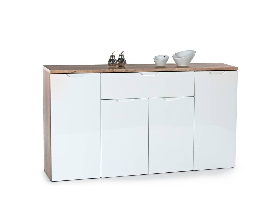 joy sideboard kommode 3 eiche sonoma weiss 146x81x35 cm. Black Bedroom Furniture Sets. Home Design Ideas