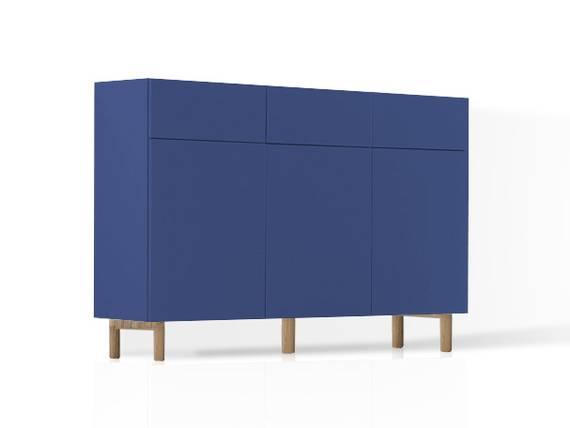 KALI Kommode 3 mit 3 Türen + 3 Schubkästen, Material MDF blau DETAIL_IMAGE