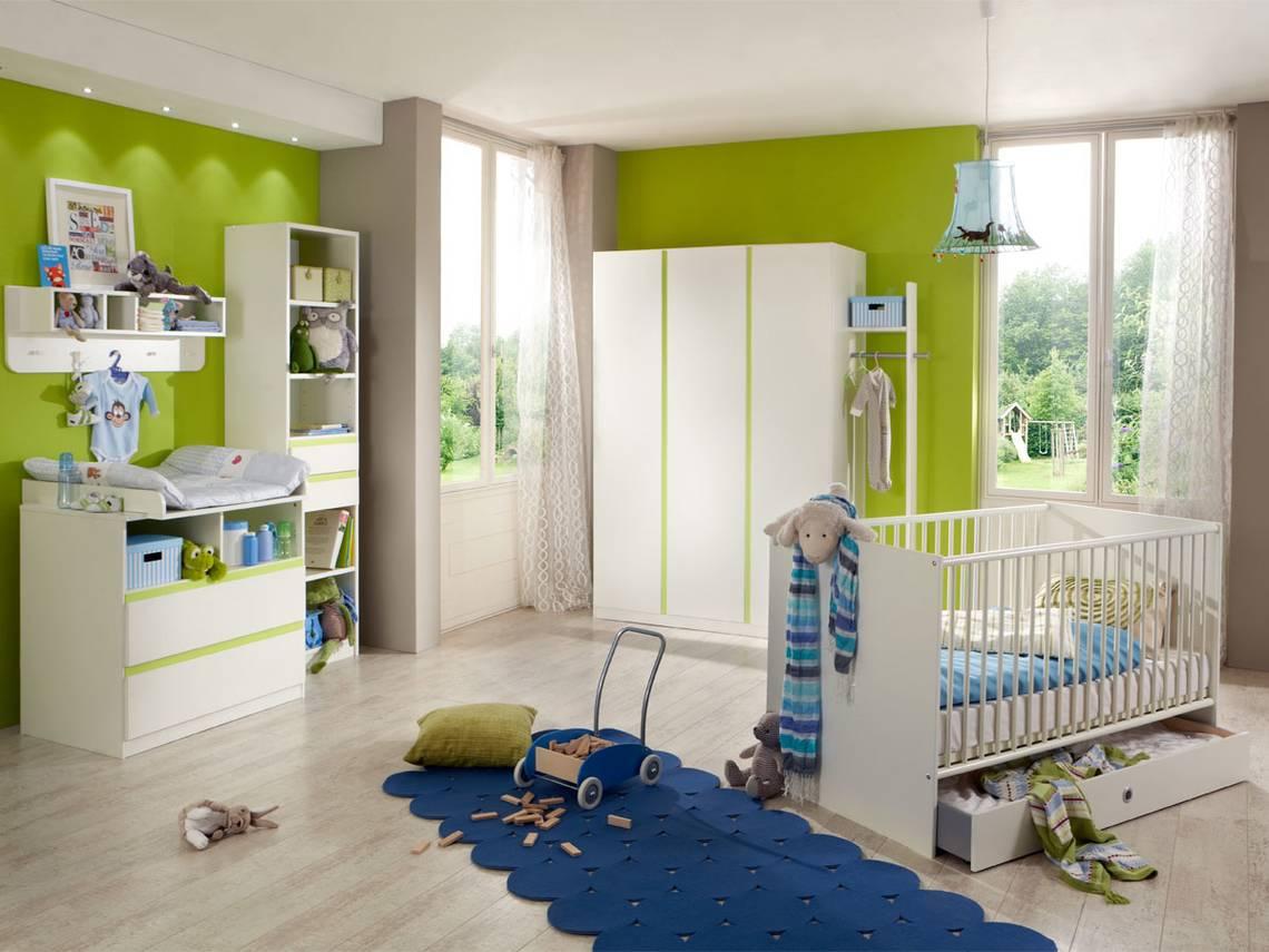 becca komplett babyzimmer weiss apfelgr n. Black Bedroom Furniture Sets. Home Design Ideas