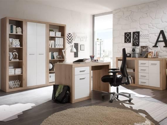 CHESTER I Komplett-Büro, Material Dekorspanplatte, Eiche sanremofarbig/weiss  DETAIL_IMAGE