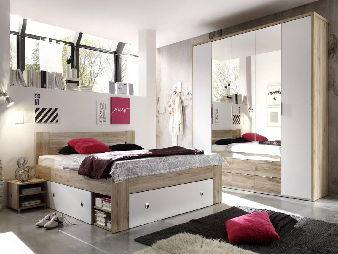 conny komplett schlafzimmer eiche san remo weiss 140 x 200 cm. Black Bedroom Furniture Sets. Home Design Ideas