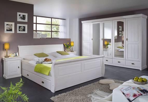 ROMAN Komplett-Schlafzimmer; Material Massivholz, Kiefer weiss   mit Bettkasten DETAIL_IMAGE