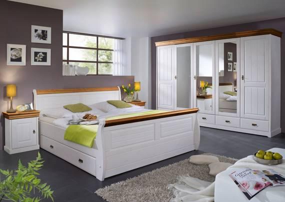 ROMAN Komplett-Schlafzimmer; Material Massivholz, Kiefer weiss/honigfarben | ohne Bettkasten DETAIL_IMAGE