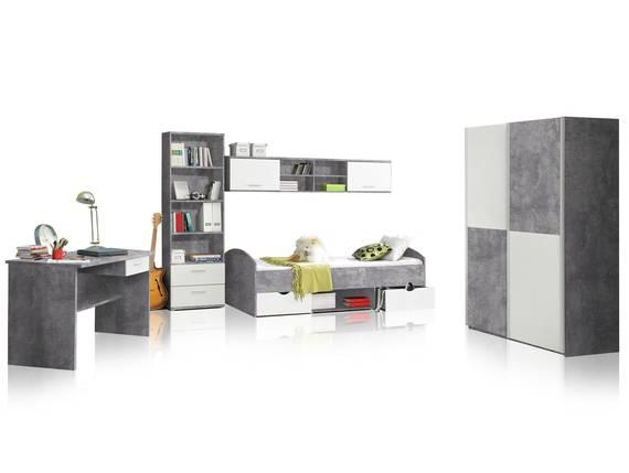 LILLY 5-teiliges Jugendzimmer, Material Dekorspanplatte, betongrau/weiss  DETAIL_IMAGE