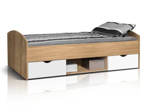 LILLY Jugendbett / Funktionsbett 90x200 cm, Material Dekorspanplatte Eiche sonomafarbig/weiss DETAIL_IMAGE