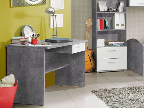 LILLY Schreibtisch, Material Dekorspanplatte, betonfarbig/weiss  DETAIL_IMAGE
