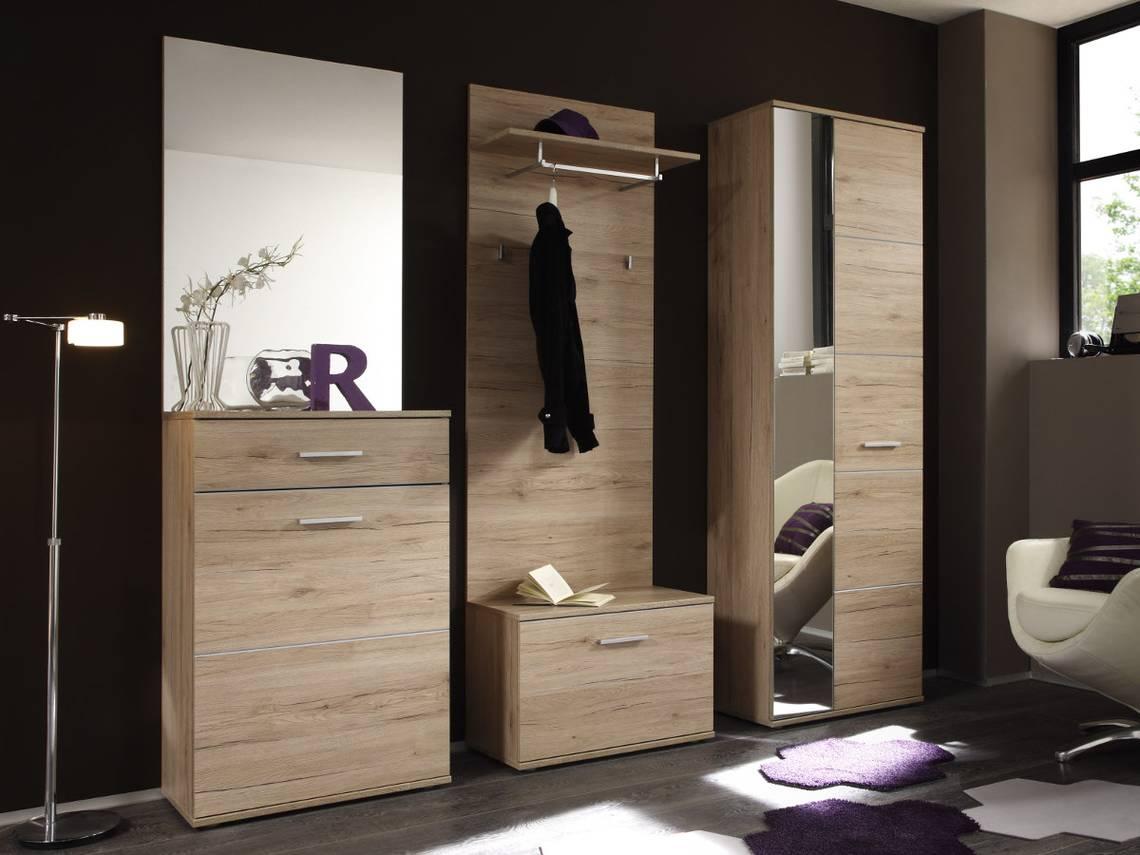 Lin garderobe 5 teilig dekor eiche san remo hell for Garderobe komplett programme