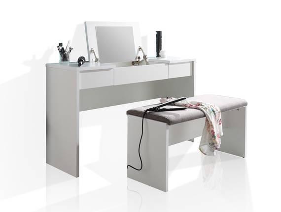 LIPS Schminktisch mit Bank, Material Dekorspanplatte, weiss  DETAIL_IMAGE