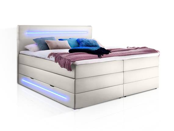 LONNI II Boxspringbett mit Bettkasten und integrierter LED-Beleuchtung, Material Kunstleder 160 x 200 cm | weiss | Härtegrad 2+3 DETAIL_IMAGE