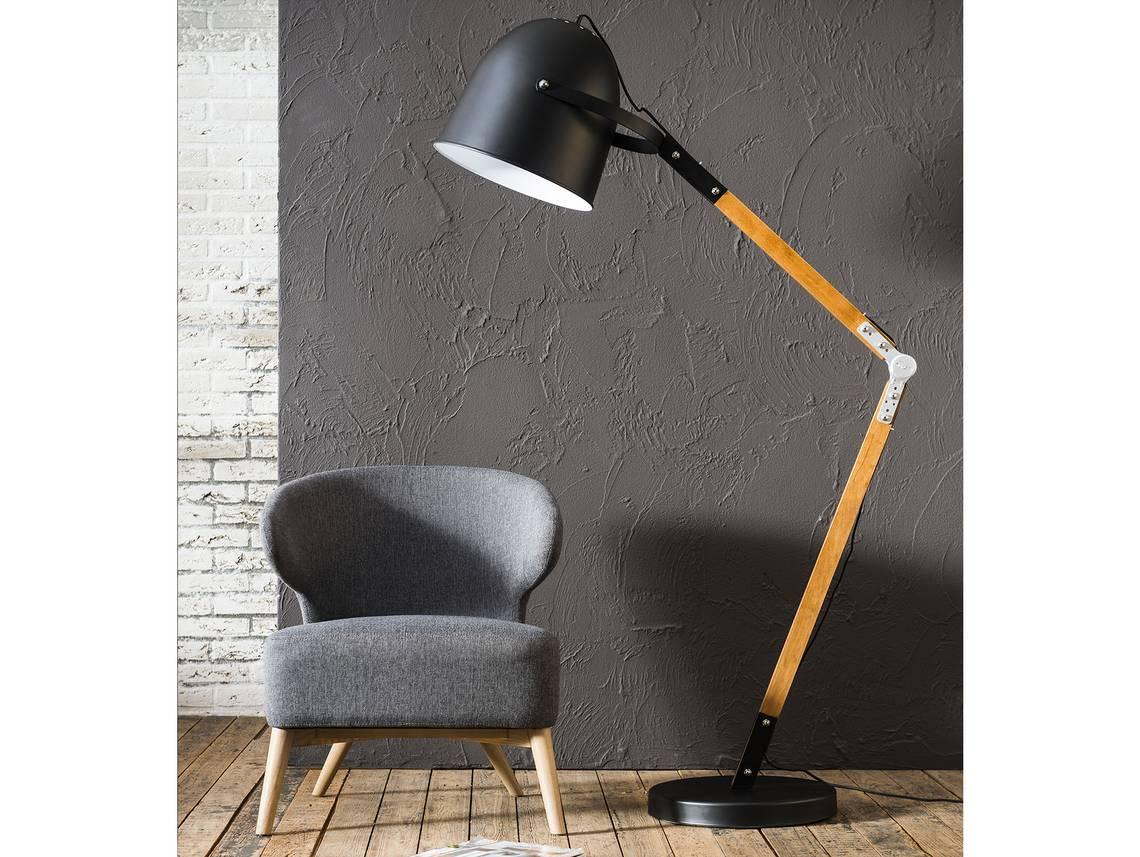 ludwig stehlampe neigbar mit schwarzem schirm. Black Bedroom Furniture Sets. Home Design Ideas