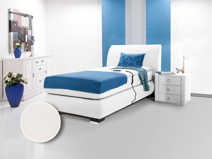 luxus elektrisches boxspringbett doppelbett einzelbett 90 x 200 webstoff weiss h rtegrad 2. Black Bedroom Furniture Sets. Home Design Ideas