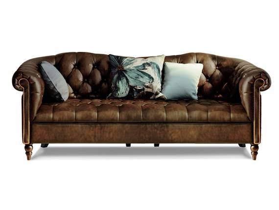 CHESTERFIELD Echtleder 3-Sitzer Sofa LONDON, antikbraun  DETAIL_IMAGE