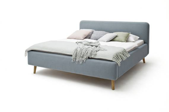 MADDY Polsterbett, Material Stoffbezug, Füße Eiche massiv 140 x 200 cm | eisblau DETAIL_IMAGE