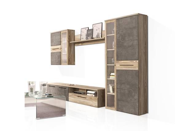 MAHIRA Wohnwand, Material Dekorspanplatte, Picea kieferfarbig/betonfarbig dunkelgrau  DETAIL_IMAGE
