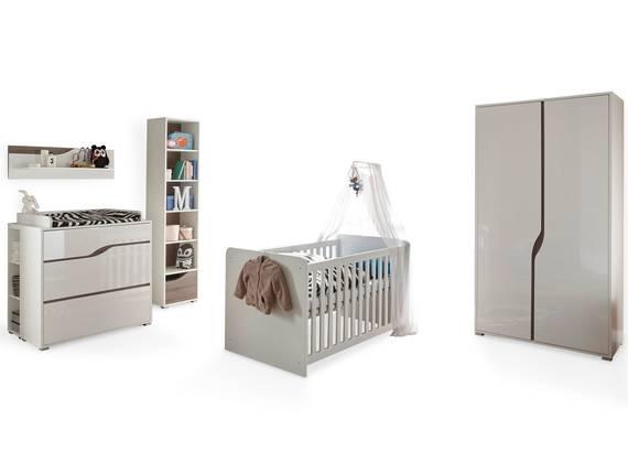 MONOLITO Komplett-Babyzimmer, Material MDF, weiss Hochglanz /Eiche sonomafarbig 2-türig DETAIL_IMAGE