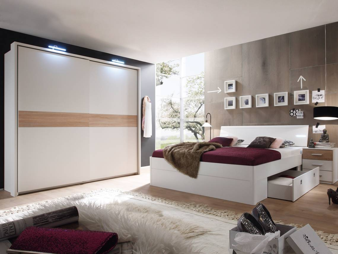 milena komplett schlafzimmer wei eiche sonoma. Black Bedroom Furniture Sets. Home Design Ideas