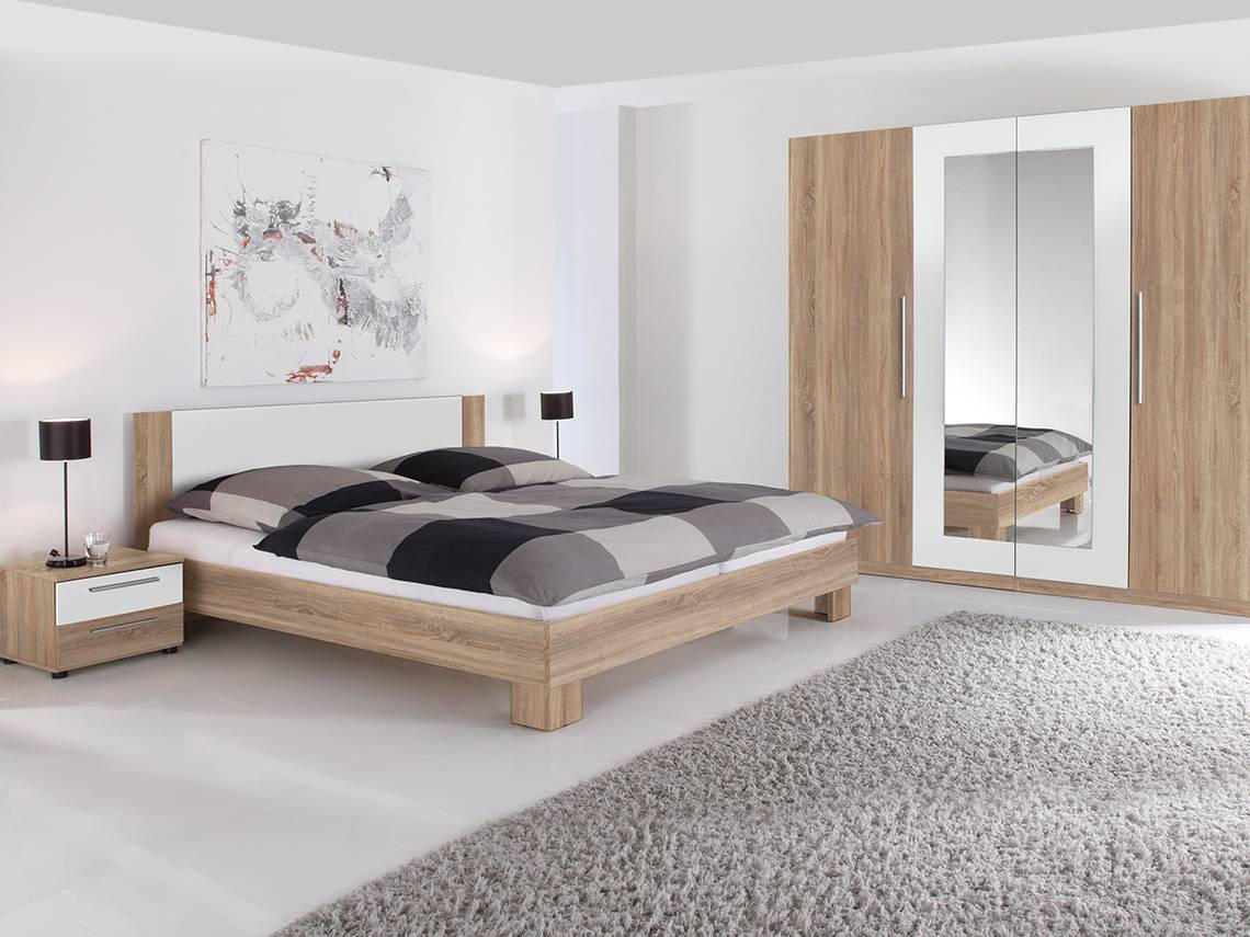 MARTINA Komplett-Schlafzimmer Eiche Sonoma/weiß