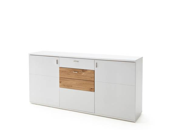 KAMEA Sideboard II, Material Dekorspanplatte, weiss matt lackiert/Wildeiche massiv  DETAIL_IMAGE