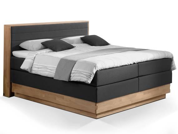MENOTA Boxspringbett mit Bettkasten, massivem Holzrahmen und Stoffbezug 200 x 200 cm | schwarz | Härtegrad 2 DETAIL_IMAGE