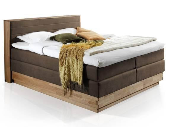 MENOTA Boxspringbett mit Bettkasten, massivem Holzrahmen und Bezug im Vintage Look 160 x 200 cm | braun | Härtegrad 2 DETAIL_IMAGE