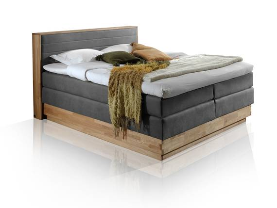 MENOTA Boxspringbett mit Bettkasten, massivem Holzrahmen und Bezug im Vintage Look 180 x 200 cm | grau | Härtegrad 2+3 DETAIL_IMAGE