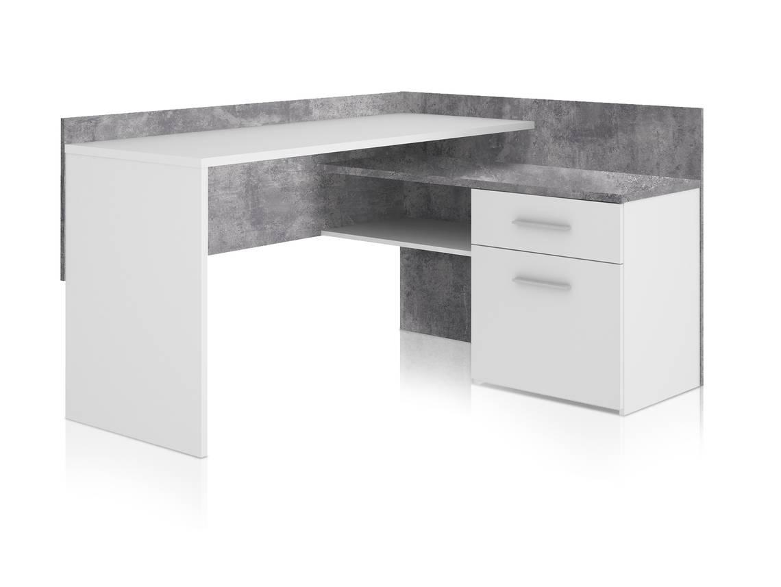 migel eckschreibtisch beton wei. Black Bedroom Furniture Sets. Home Design Ideas
