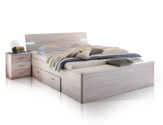 milena xl bettanlage inkl nakos und bank wei eiche. Black Bedroom Furniture Sets. Home Design Ideas