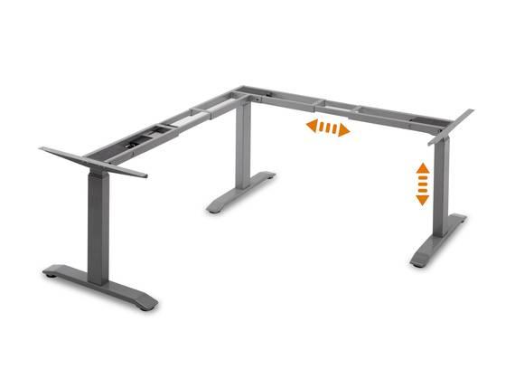 OFFICE ONE elektrisch höhenverstellbares Eck-Tischgestell, TÜV geprüft, mit Memory-Funktion, grau  DETAIL_IMAGE