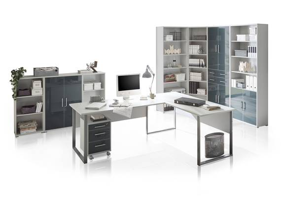 OFFICE DELUXE 9-teiliges Büroprogramm, Material Dekorspanplatte/Glas, grau/graphit  DETAIL_IMAGE