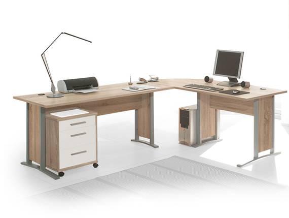 OFFICE LINE Winkelkombination, Material Dekorspanplatte Eiche sonomafarbig /weiss DETAIL_IMAGE