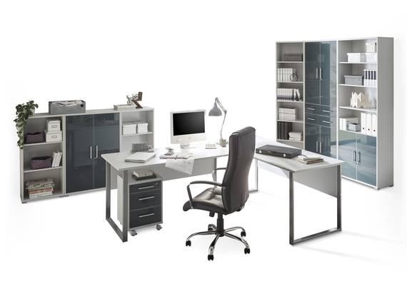 OFFICE DELUXE 8-teiliges Büroprogramm, Material Dekorspanplatte/Glas, grau/graphit  DETAIL_IMAGE