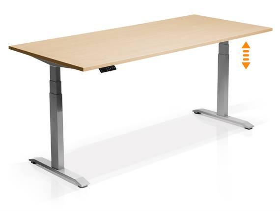 OFFICE ONE elektrisch höhenverstellbarer Schreibtisch / Stehtisch, Material Dekorspanplatte 120x80 cm   ahornfarbig   grau DETAIL_IMAGE