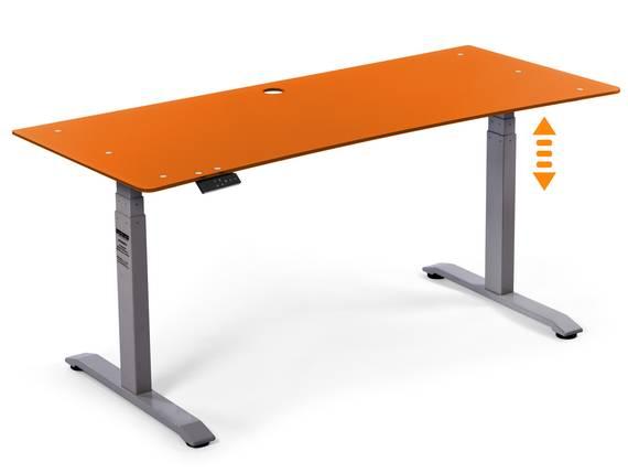 OFFICE ONE elektrisch verstellbarer Schreibtisch / Stehtisch, Material Glasplatte 10 mm 180x70 cm | orange | grau DETAIL_IMAGE