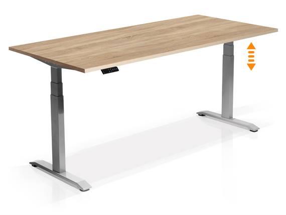 OFFICE ONE elektrisch höhenverstellbarer Schreibtisch / Stehtisch, Material Dekorspanplatte 160x80 cm   Eiche sonomafarbig   grau DETAIL_IMAGE