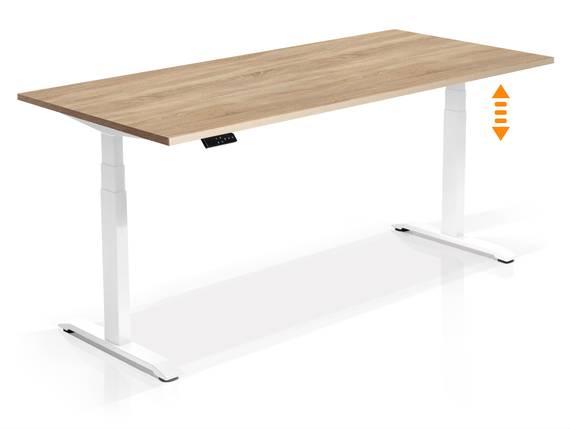 OFFICE ONE elektrisch höhenverstellbarer Schreibtisch / Stehtisch, Material Dekorspanplatte 160x80 cm | Eiche sonomafarbig | weiss DETAIL_IMAGE