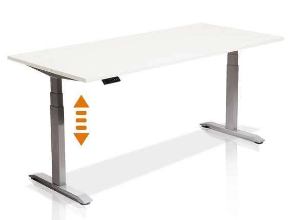 OFFICE ONE elektrisch höhenverstellbarer Schreibtisch / Stehtisch, Material Dekorspanplatte 120x80 cm | weiss | grau DETAIL_IMAGE