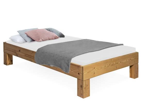 CURBY 4-Fuß-Bett, Material Massivholz, rustikale Altholzoptik, Fichte gebürstet 90 x 200 cm | ohne Kopfteil DETAIL_IMAGE