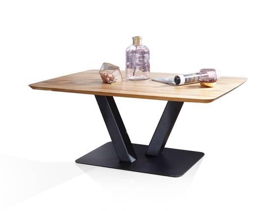 OKTAVIO Couchtisch, bootsform, Material Massivholz, Wildeiche geölt 110x70 cm DETAIL_IMAGE