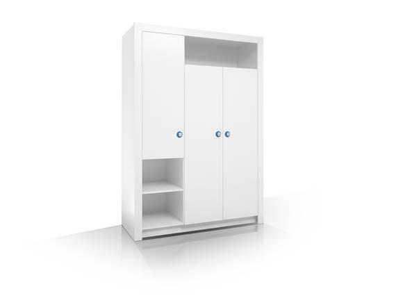 PAOLO Kleiderschrank 3trg, Material Dekorspanplatte, weiss  DETAIL_IMAGE