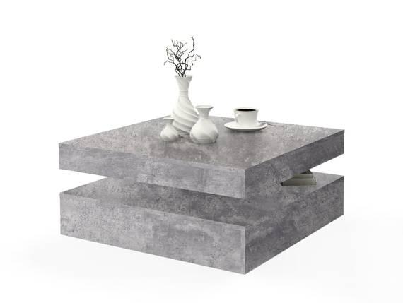 PARLA Couchtisch quadratisch mit Drehmechanismus, Material Dekorspanplatte betonfarbig DETAIL_IMAGE