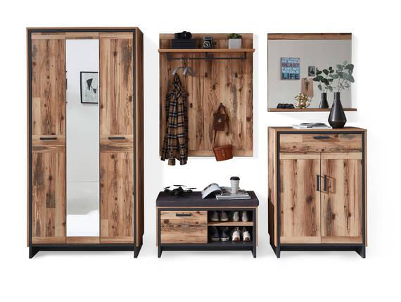 PASADENA Garderobenset I, Material Dekorspanplatte, Alpine Lodge Nachbildung/graphitfarbig  DETAIL_IMAGE