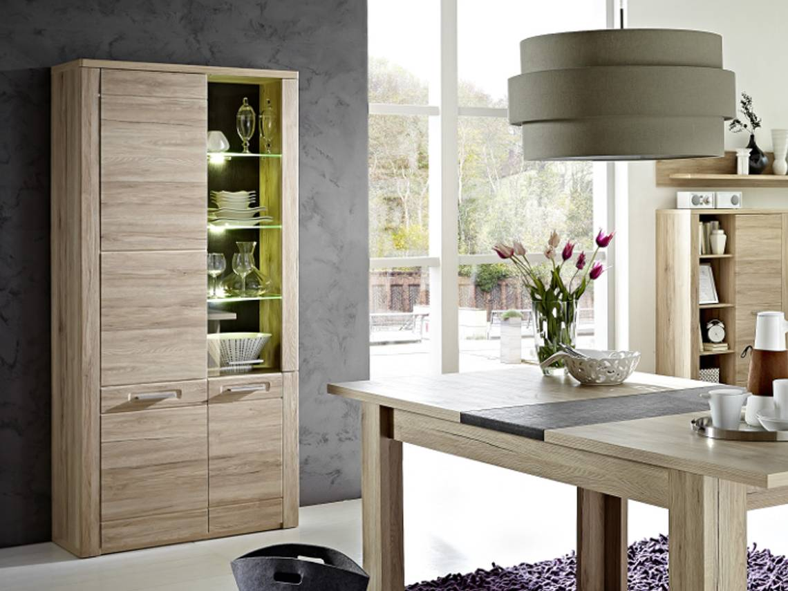 pro vitrine dekor eiche san remo hell schiefer. Black Bedroom Furniture Sets. Home Design Ideas