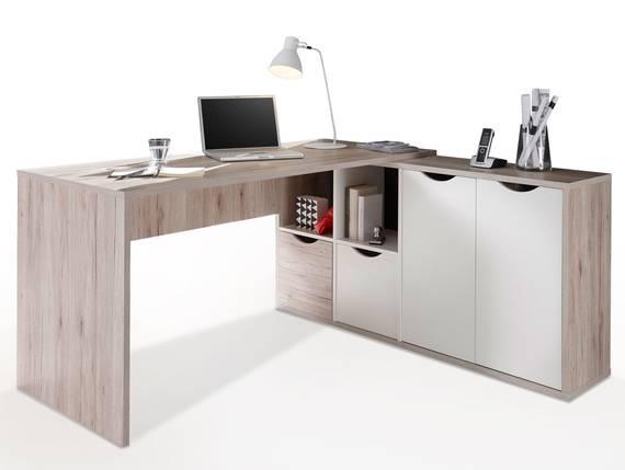 QUASTO Winkelschreibtisch, Material Dekorspanplatte, sandeichefarbig/weiss  DETAIL_IMAGE