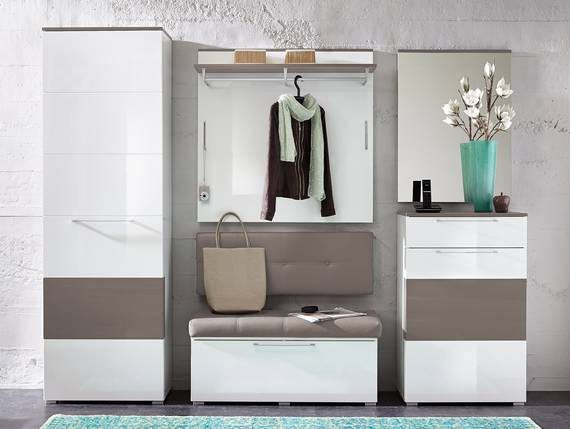 RENE Garderoben Kombination, Material Dekorspanplatte, weiss Hochglanz weiss HG / grau DETAIL_IMAGE
