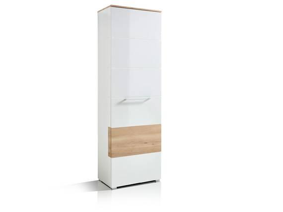 RENE Garderobenschrank, Material Dekorspanplatte weiss Hochglanz / buchefarbig DETAIL_IMAGE