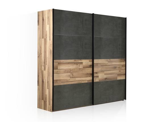 RICCANO Schiebetürenschrank, Material Dekorspanplatte, stabeichefarbig/grau 220 cm DETAIL_IMAGE