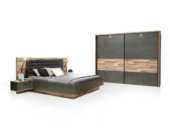 RICCANO Komplett-Schlafzimmer I, Material Dekorspanplatte, stabeichefarbig/grau 270 cm DETAIL_IMAGE
