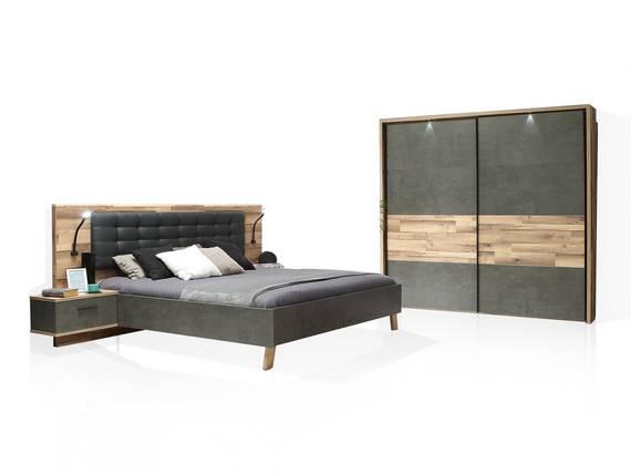 RICCANO Komplett-Schlafzimmer II, Material Dekorspanplatte, stabeichefarbig/grau 220 cm DETAIL_IMAGE
