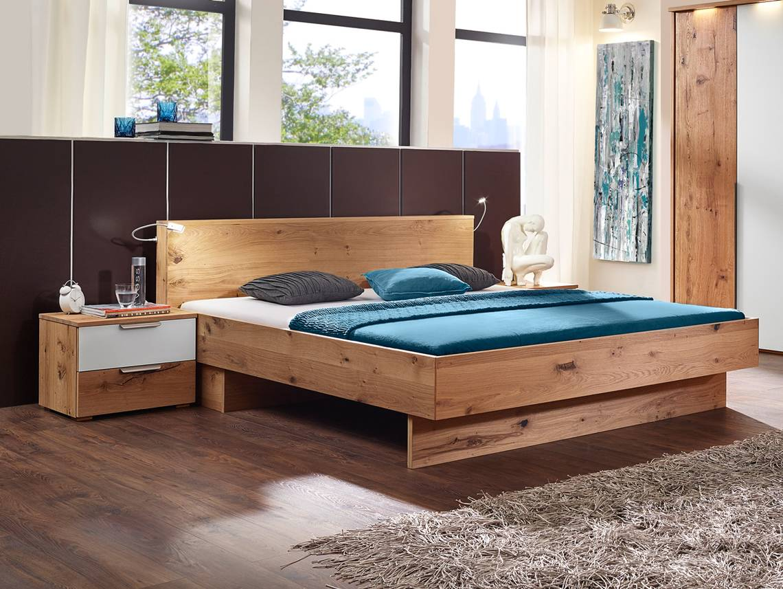 rivera doppelbett alteiche furniert geb rstet biancofarben 180 x 200 cm. Black Bedroom Furniture Sets. Home Design Ideas