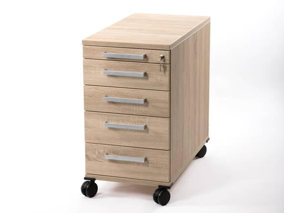 OFFICE ONE Rollcontainer groß mit 4 Organisationsschubkästen, Material Dekorspanplatte Eiche sonomafarbig DETAIL_IMAGE